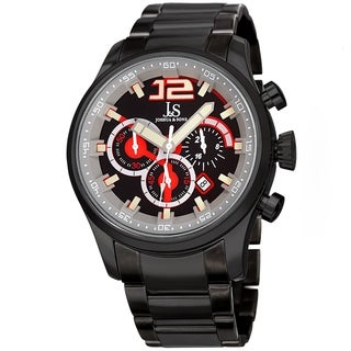 Joshua & Sons Men's Chronograph Multi-Layered Sports Car Design Black Bracelet Watch