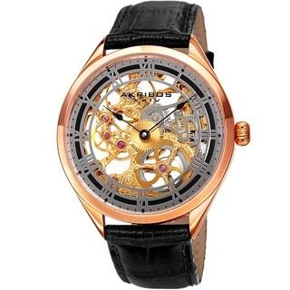 Akribos XXIV Men's Mechanical Skeletal Black Leather Strap Watch