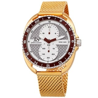Joshua & Sons Men's Rotating Chronograph Gold-tone Mesh Strap Watch
