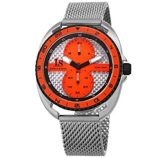 Joshua & Sons Men's Rotating Chronograph Silver-tone Mesh Strap Watch