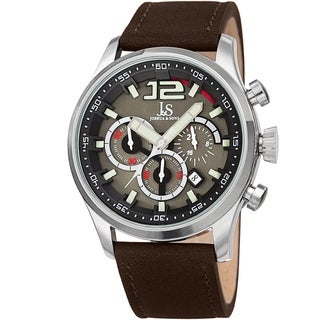 Joshua & Sons Men's Chronograph Date Sports Car Design Brown Leather Strap Watch