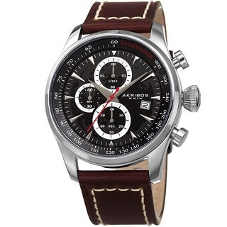 Akribos XXIV Men's Chronograph Brown Leather Stitched Strap Watch