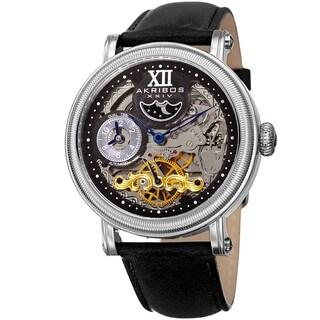 Akribos XXIV Men's Automatic Skeleton Dual Time Black Leather Strap Watch