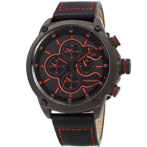 Joshua & Sons Men's Chronograph Stitched Black Leather Strap Watch