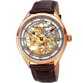 Akribos XXIV Men's Mechanical Skeletal Brown Leather Strap Watch