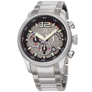 Joshua & Sons Men's Chronograph Multi-Layered Sports Car Design Silver-tone Bracelet Watch