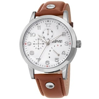 August Steiner Men's Date 24 Hour Pilot Style Retrograde Brown Leather Strap Watch