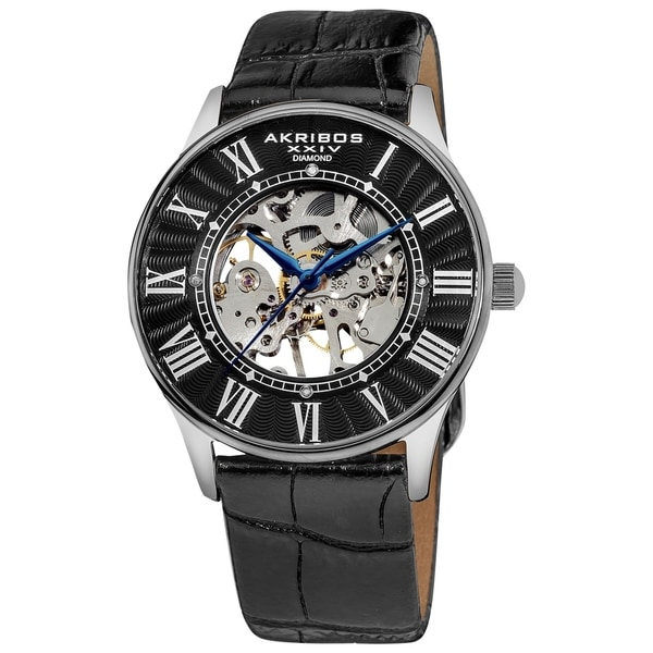 Akribos XXIV Men's Skeletal Mechanical Diamond Black Leather Strap Watch