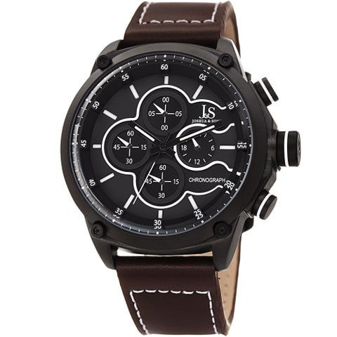 Joshua & Sons Men's Chronograph Stitched Brown Leather Strap Watch