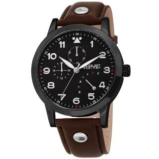 August Steiner Men's Date 24 Hour Pilot Style Retrograde Brown Leather Strap Watch