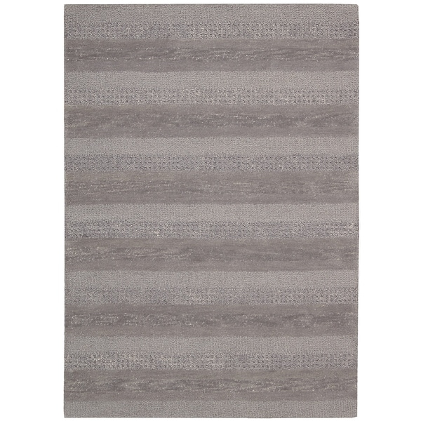 Calvin Klein Sequoia Boucle Stripe Smoke Area Rug By Nourison 7 X27