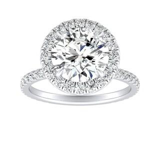 Auriya 14k Gold 4ct Round Moissanite and 5/8ct TW Diamond Halo Engagement Ring