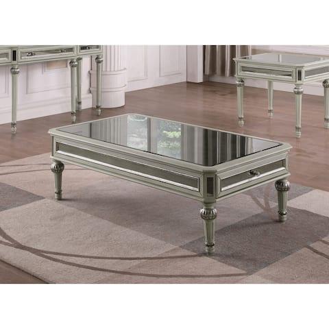 Best Master Furniture Mirrored Antique Cream Coffee Table