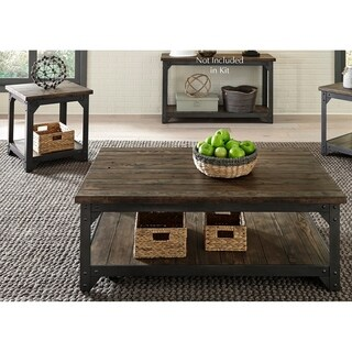 Caldwell Rustic Caramel with Dark Pewter Metal Table 3-piece Set