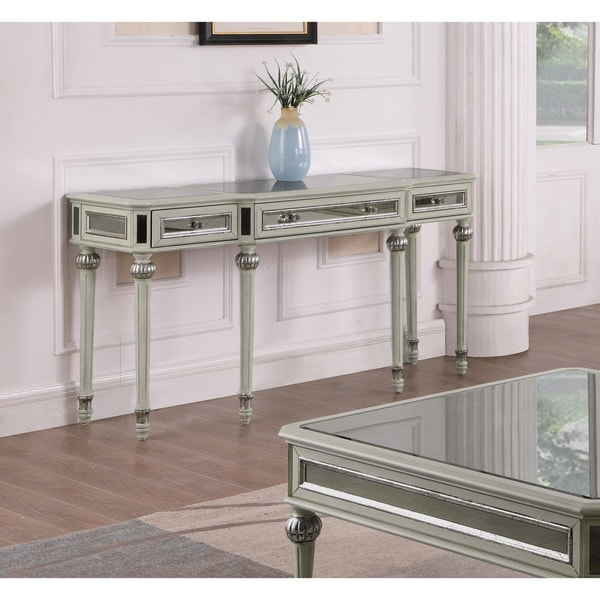 Best Master Furniture Antique Cream With Mirrored Sofa Table
