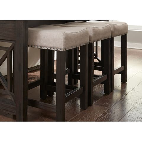Heatherbrook Charcoal and Ash Upholstered Barstool