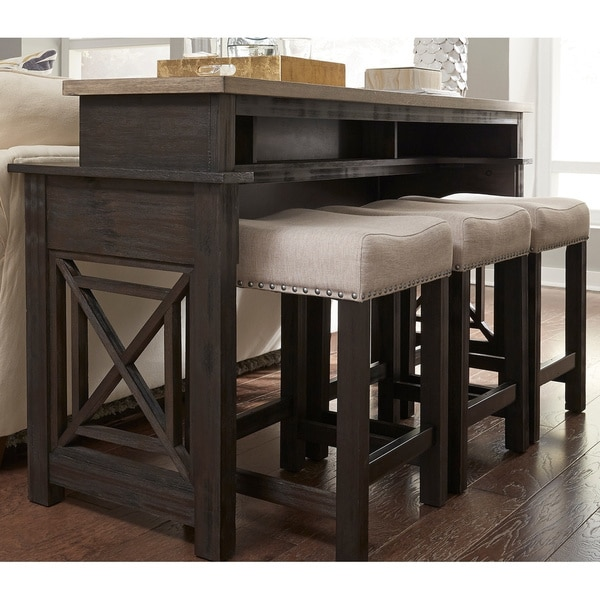 Heatherbrook Charcoal and Ash 4-piece Console Set