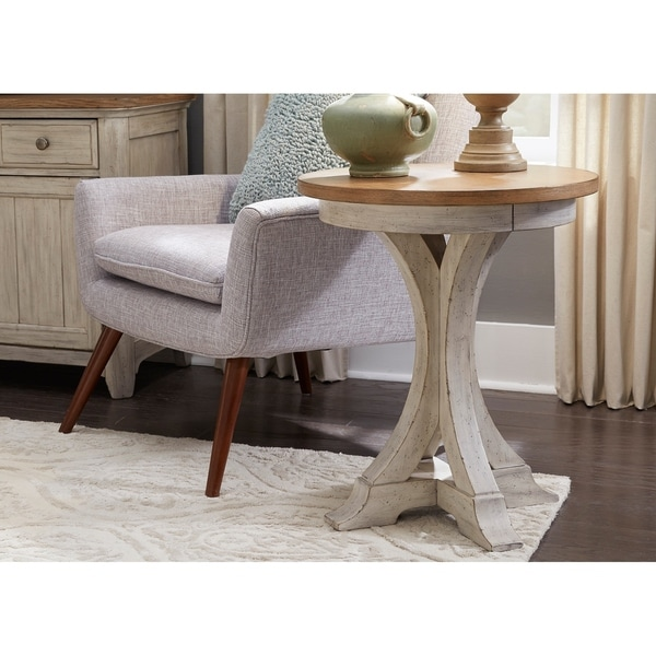 Shop Farmhouse Reimagined Antique White Round Chair Side Table