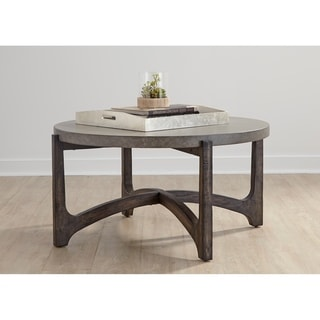 Cascade Wire Brush Rustic Brown Round Cocktail Table