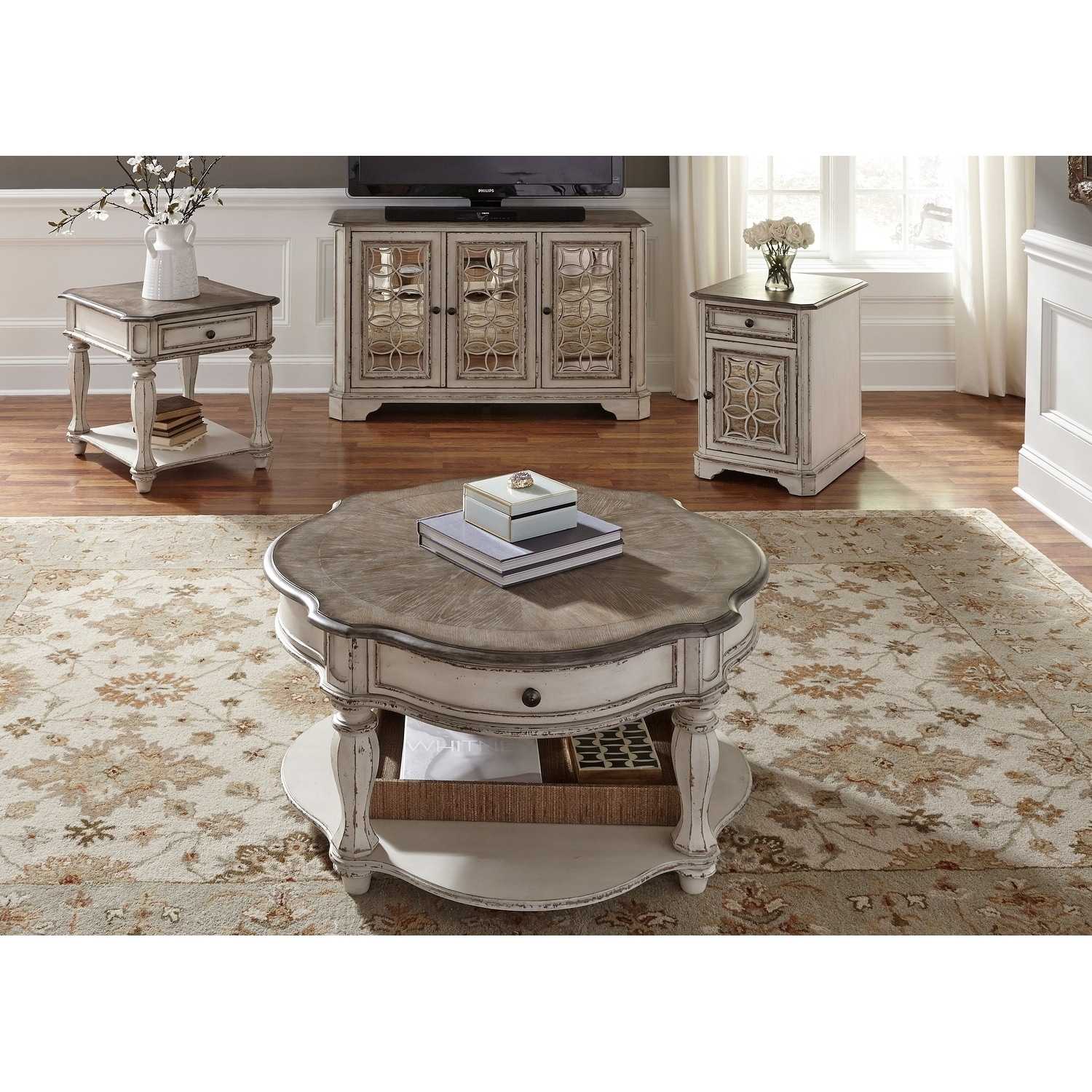 Excellent Magnolia Manor Antique White Optional Table 3 Piece Set Gmtry Best Dining Table And Chair Ideas Images Gmtryco