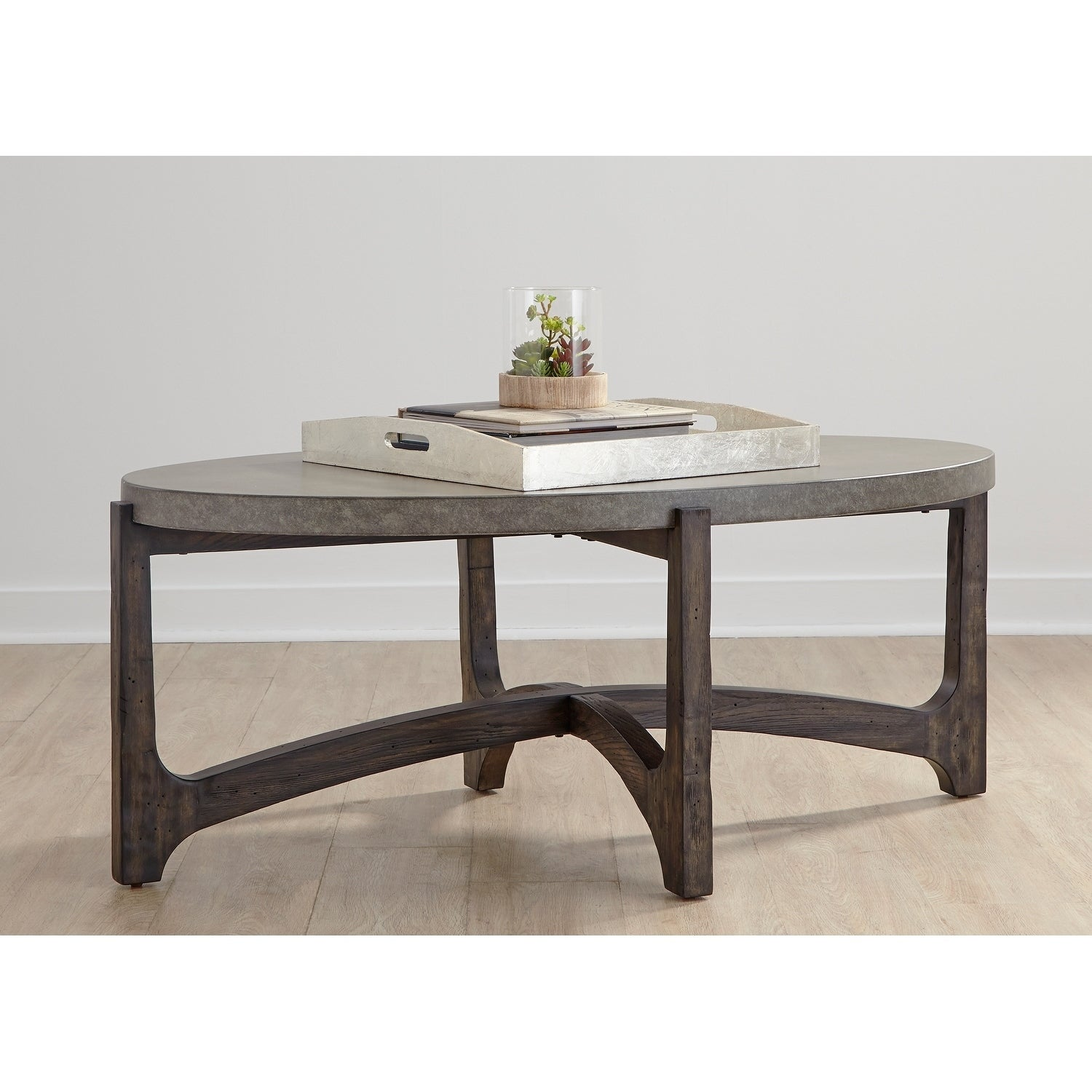 Cascade Wire Brush Rustic Brown Oval Tail Table