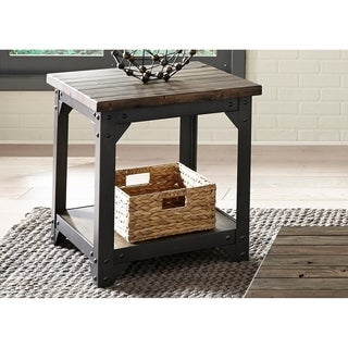 Caldwell Rustic Caramel with Dark Pewter Metal End Table