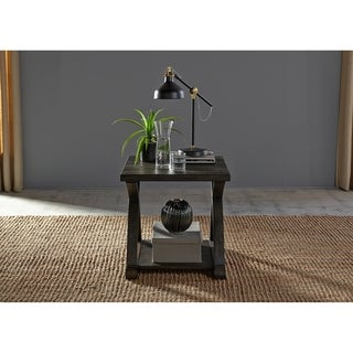 Twin Oaks Rustic Charcoal End Table