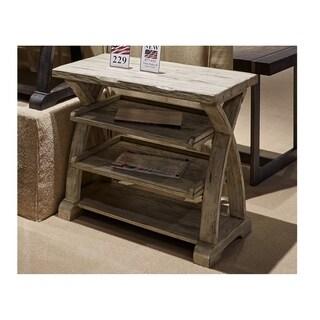 Twin Oaks Rustic White Shelf End Table