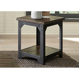 Caldwell Rustic Caramel with Dark Pewter Metal Chair Side Table