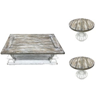 Sedona Heavy Distressed White Table 3-piece Set