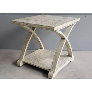 Twin Oaks Rustic White End Table