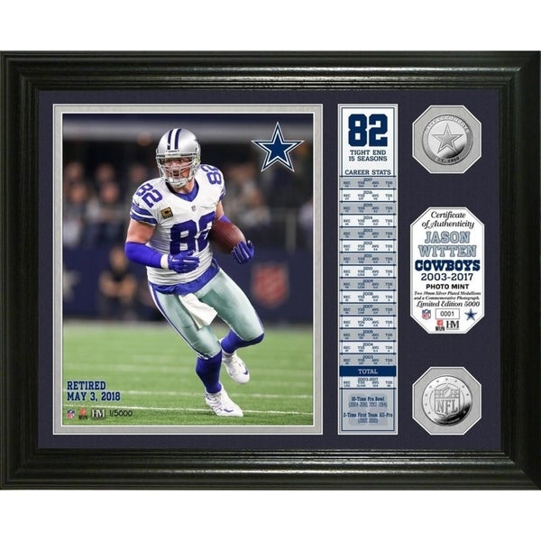 superior quality ffb19 fc089 Jason Witten Retirement Banner Silver Coin Photo Mint - Black