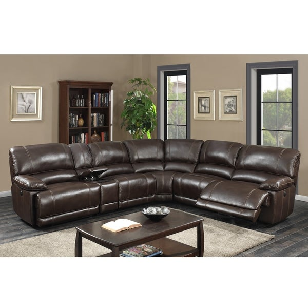 Olivia Transitional 6-Piece Dark Brown Power Recline/ Charging Sectional Sofa. Opens flyout.