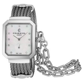 Charriol Women's STRES.560.001 'St Tropez' Mother of Pearl Diamond Dial Stainless Steel Swiss Quartz Watch