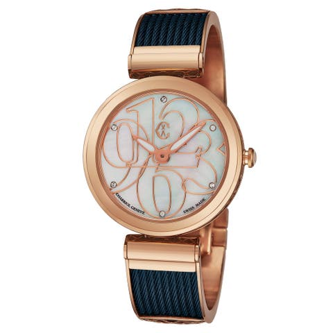 Charriol Women's FE32.F02.002 'Forever' Mother of Pearl Diamond Dial Blue/Rose Goldtone Chevron Cable Swiss Quartz Watch