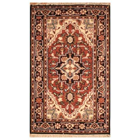 Handmade One-of-a-Kind Heriz Wool Rug (India) - 3'2 x 5'