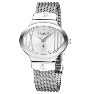 Charriol Women's OVAL.541.OV004 'Darling Oval' Silver Dial Stainless Steel Swiss Quartz Watch