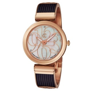 Charriol Women's FE32.A02.002 'Forever' Mother of Pearl Diamond Dial Purple/Rose Goldtone Chevron Cable Swiss Quartz Watch