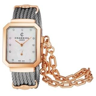 Charriol Women's STREP.560.001 'St Tropez' Mother of Pearl Diamond Dial Two Tone Stainless Steel Swiss Quartz Watch