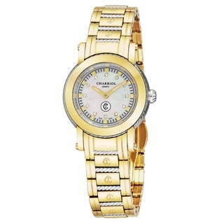 Charriol Women's P28Y2P.28Y2.007 'Parisi' Mother of Pearl Diamond Dial Two Tone Stainless Steel Swiss Quartz Watch