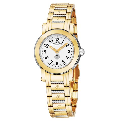 Charriol Women's P28Y2P.28Y2.008 'Parisi' White Dial Two Tone Stainless Steel Swiss Quartz Watch