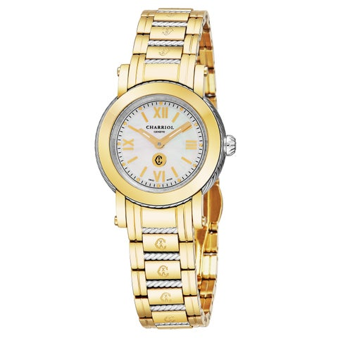 Charriol Women's P28Y2.P28Y2.006 'Parisi' Mother of Pearl Diamond Dial Two Tone Stainless Steel Swiss Quartz Watch