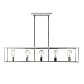 Golden Lighting Wesson Chrome-finished Steel 5-light Linear Pendant