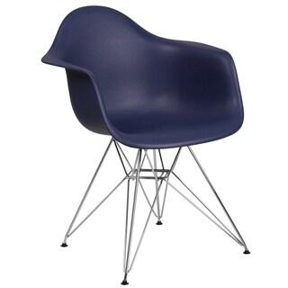 Modern Mid-Century Designed Navy Arm Chair with Artistic Chrome Legs