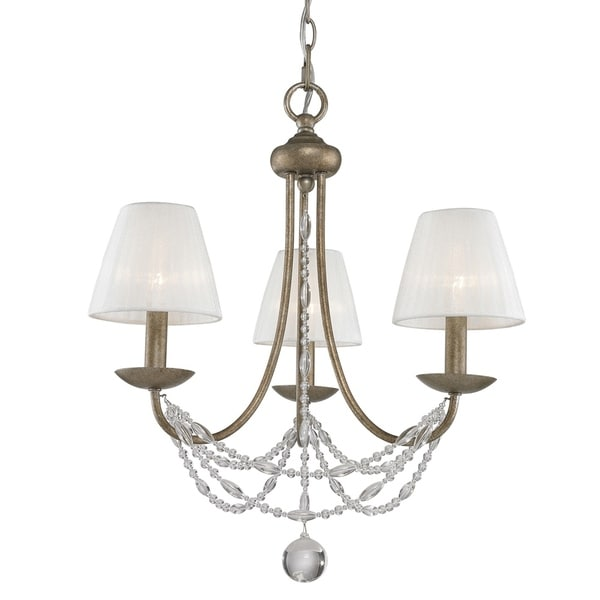 Mirabella 3-Light Mini Chandelier in Golden Aura with Pearl Chiffon Shade - Gold