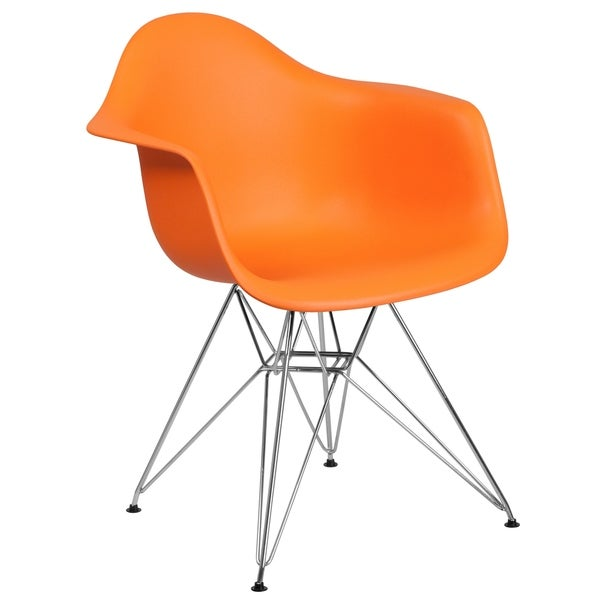 Shop Modern Mid Century Designed Orange Arm Chair With