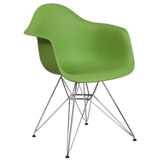 Modern Mid-Century Designed Green Arm Chair with Artistic Chrome Legs