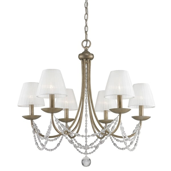 Mirabella 6-Light Chandelier in Golden Aura with Pearl Chiffon Shade - Gold