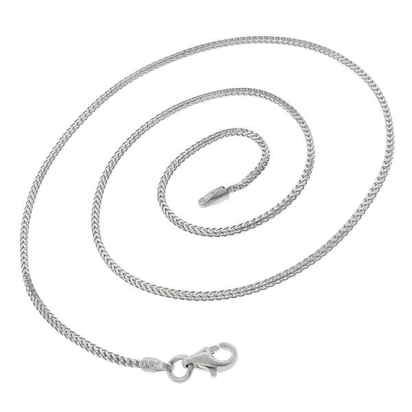 Made In Italy Authentic Solid Sterling Silver 4.5mm Franco Square Box Link Heavy-Duty .925 Rhodium Necklace Chain 20-30