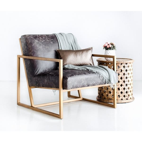 Shop Harrington Modern Leather Accent Chair - Lounge Chair ...